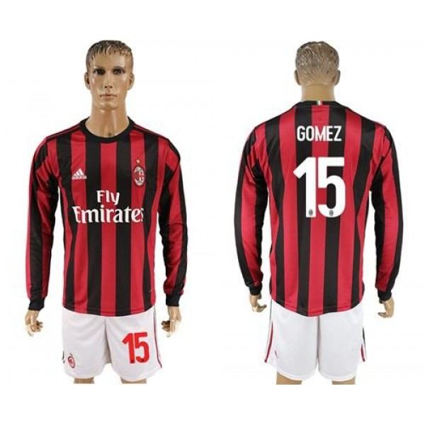 AC Milan #15 Gomez Home Long Sleeves Soccer Club Jersey