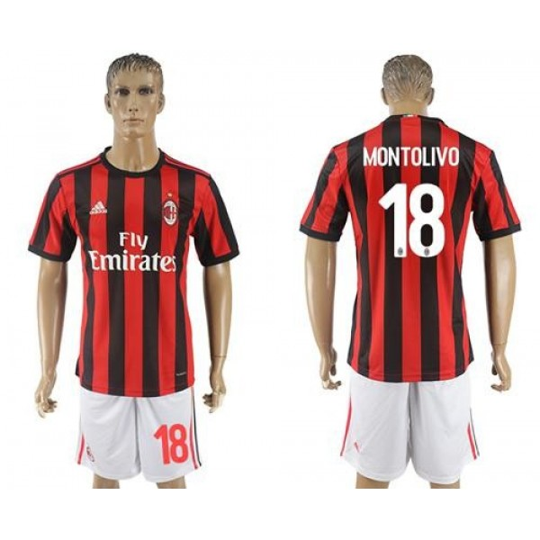 AC Milan #18 Montolivo Home Soccer Club Jersey