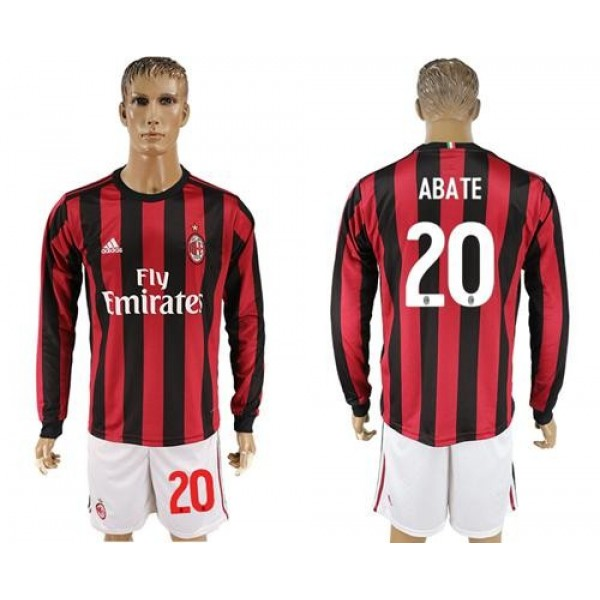 AC Milan #20 Abate Home Long Sleeves Soccer Club Jersey