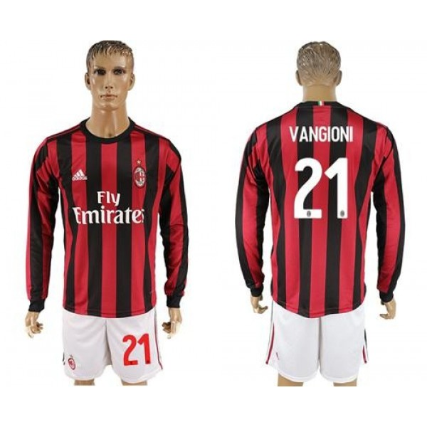 AC Milan #21 Vangioni Home Long Sleeves Soccer Club Jersey