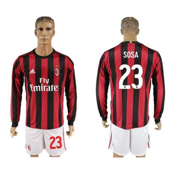 AC Milan #23 Sosa Home Long Sleeves Soccer Club Jersey