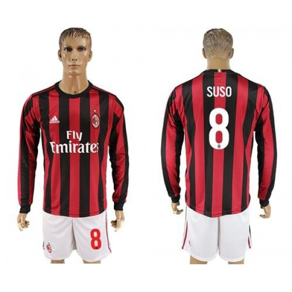 AC Milan #8 Suso Home Long Sleeves Soccer Club Jersey