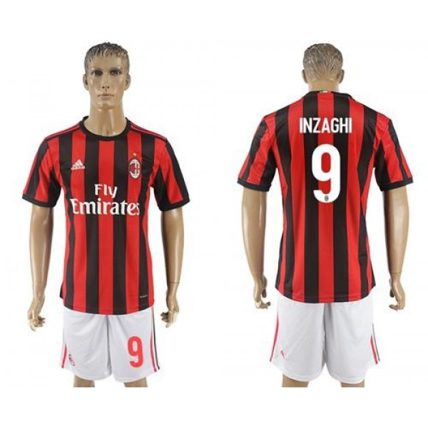 AC Milan #9 Inzaghi Home Soccer Club Jersey