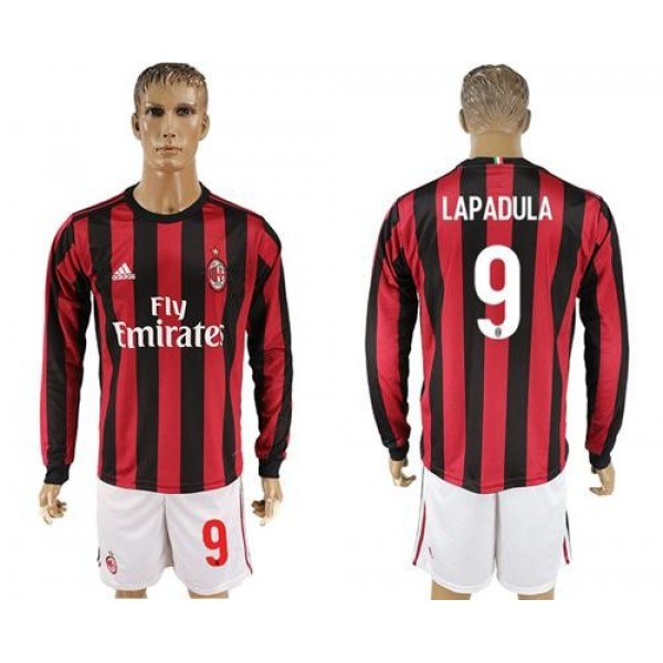 AC Milan #9 Lapadula Home Long Sleeves Soccer Club Jersey