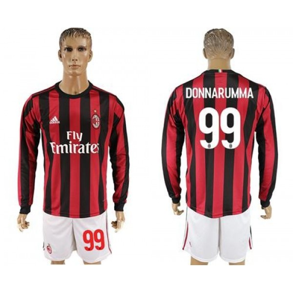 AC Milan #99 Donnarumma Home Long Sleeves Soccer Club Jersey