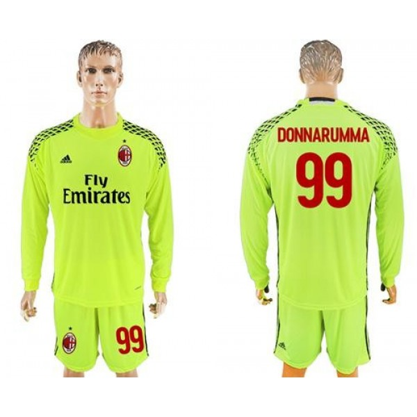AC Milan #99 Donnarumma Shiny Green Goalkeeper Long Sleeves Soccer Club Jersey