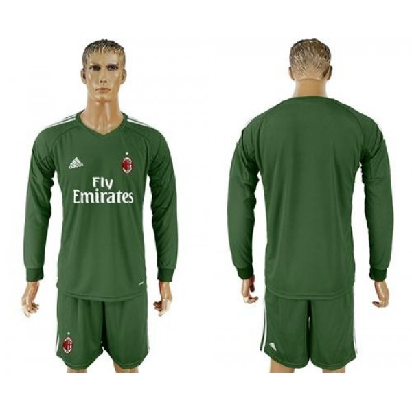AC Milan Blank Green Goalkeeper Long Sleeves Soccer Club Jersey