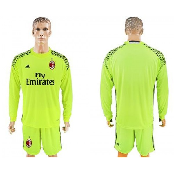 AC Milan Blank Shiny Green Goalkeeper Long Sleeves Soccer Club Jersey