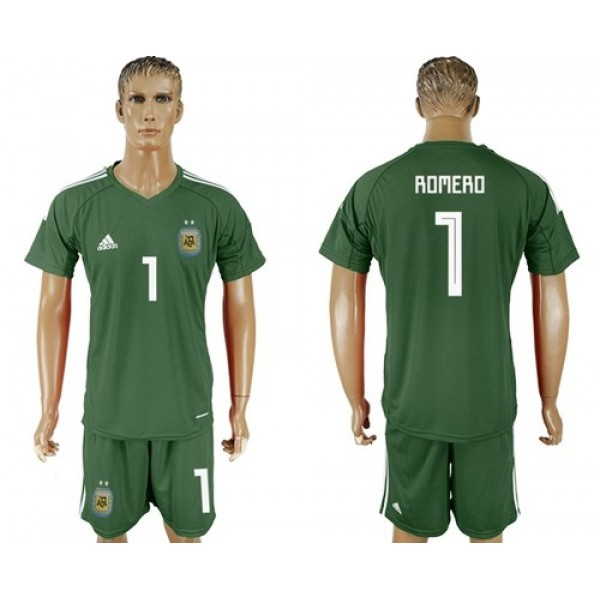 Argentina #1 Romero Army Green Goalkeeper Soccer Country Jersey