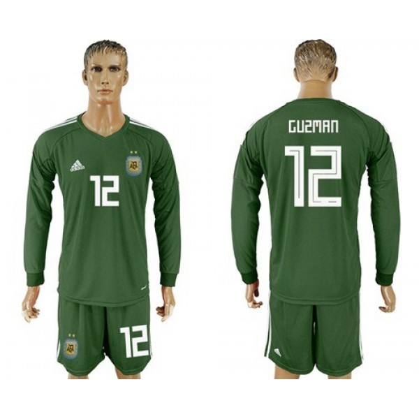 Argentina #12 Guzman Army Green Long Sleeves Goalkeeper Soccer Country Jersey