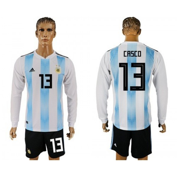 Argentina #13 Casco Home Long Sleeves Soccer Country Jersey
