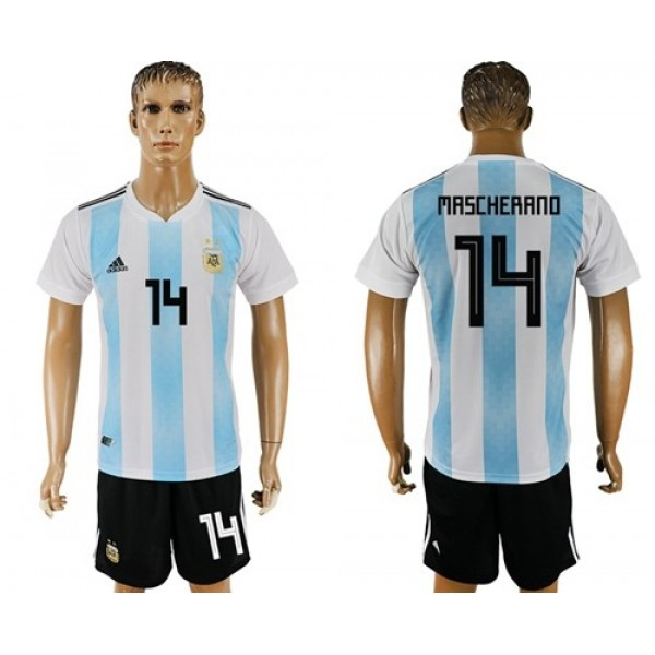 Argentina #14 Mascherano Home Soccer Country Jersey