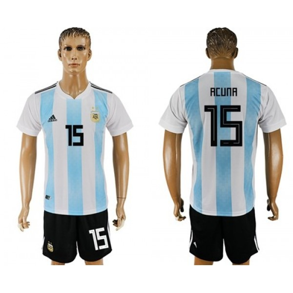Argentina #15 Acuna Home Soccer Country Jersey