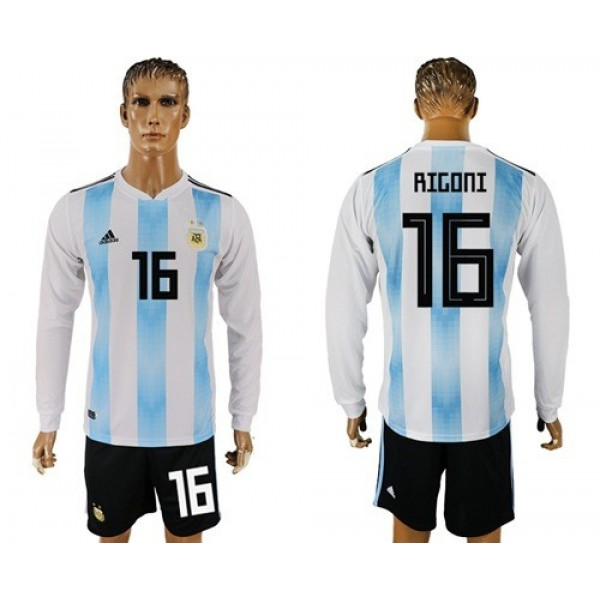 Argentina #16 Rigoni Home Long Sleeves Soccer Country Jersey