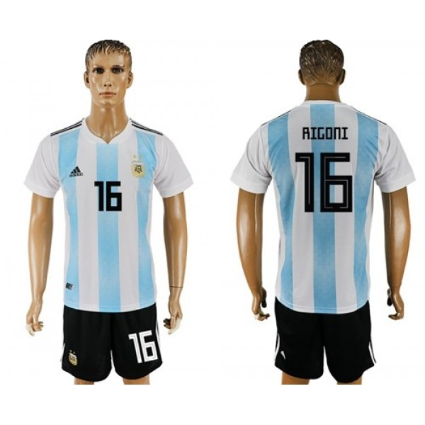 Argentina #16 Rigoni Home Soccer Country Jersey