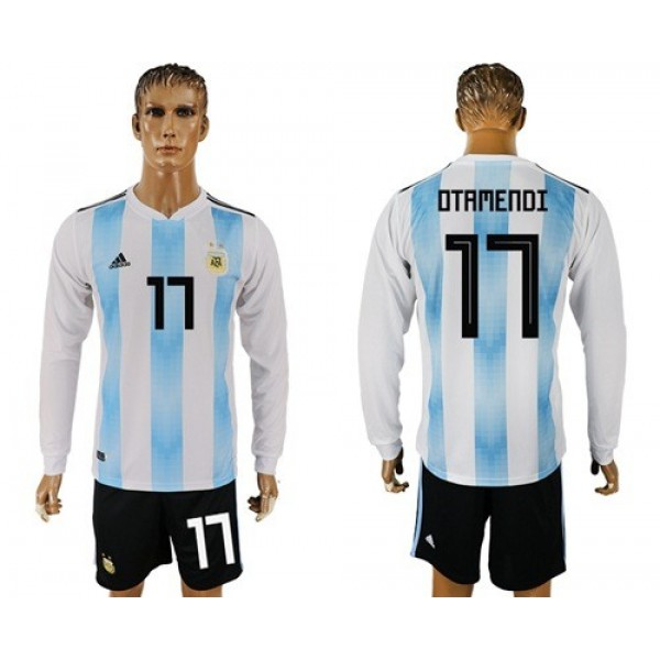 Argentina #17 Otamendi Home Long Sleeves Soccer Country Jersey