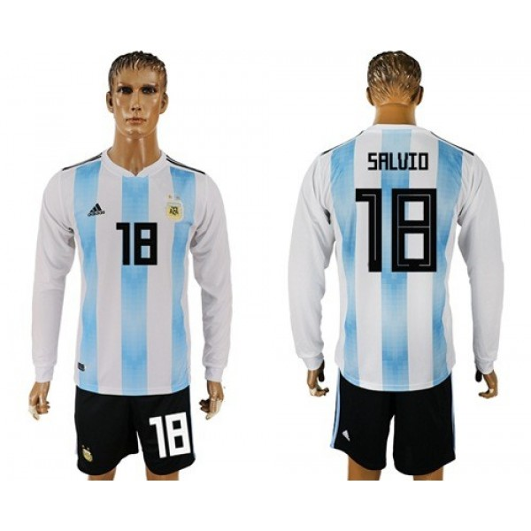 Argentina #18 Salvio Home Long Sleeves Soccer Country Jersey