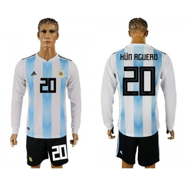 Argentina #20 Kun Aguero Home Long Sleeves Soccer Country Jersey