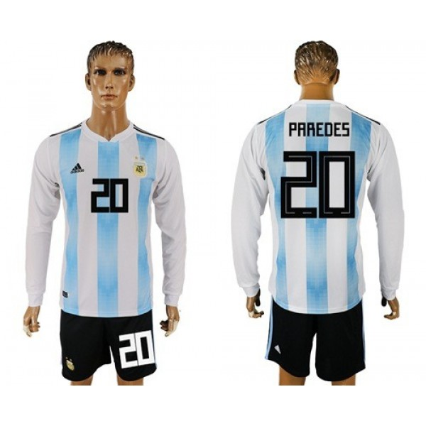Argentina #20 Paredes Home Long Sleeves Soccer Country Jersey