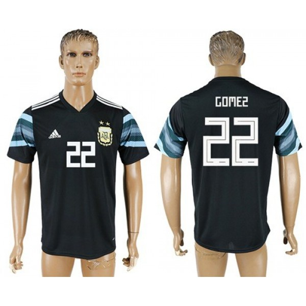 Argentina #22 Gomez Away Soccer Country Jersey