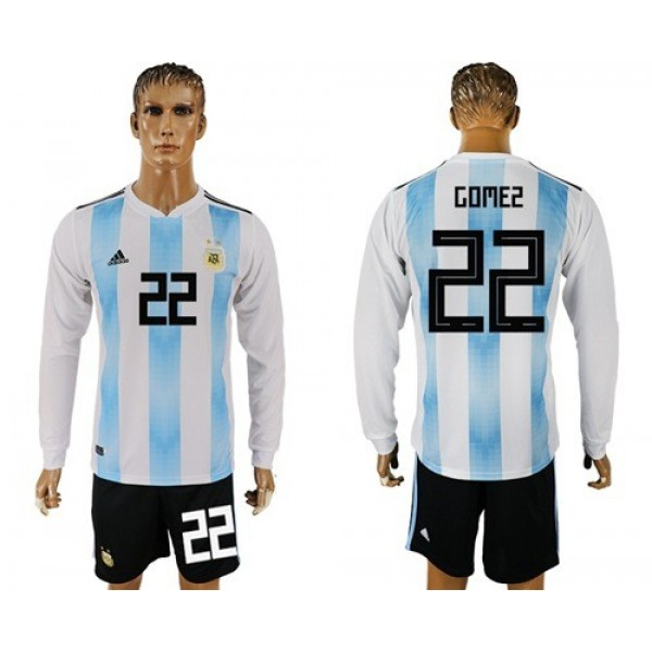 Argentina #22 Gomez Home Long Sleeves Soccer Country Jersey