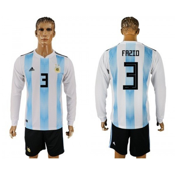 Argentina #3 Fazio Home Long Sleeves Soccer Country Jersey