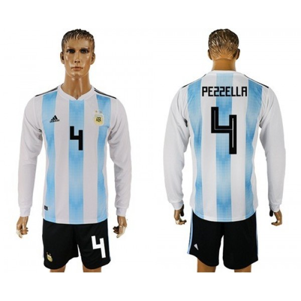 Argentina #4 Pezzella Home Long Sleeves Soccer Country Jersey