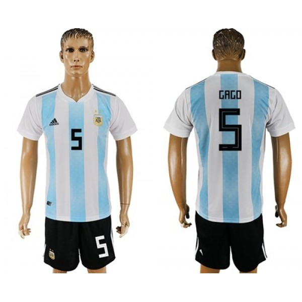 Argentina #5 Gago Home Soccer Country Jersey