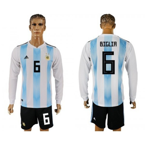 Argentina #6 Biglia Home Long Sleeves Soccer Country Jersey