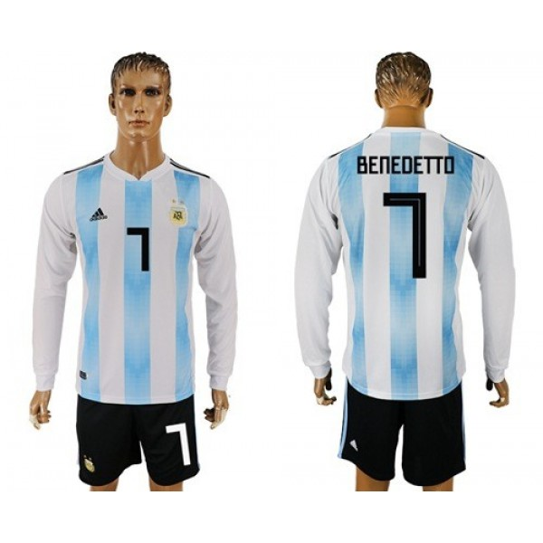 Argentina #7 Benedetto Home Long Sleeves Soccer Country Jersey