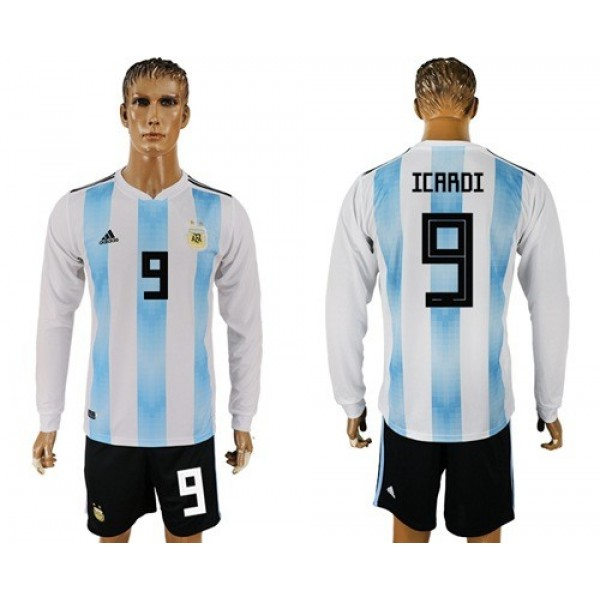 Argentina #9 Icardi Home Long Sleeves Soccer Country Jersey