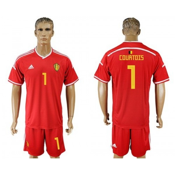 Belgium #1 Courtois Red Home Soccer Country Jersey