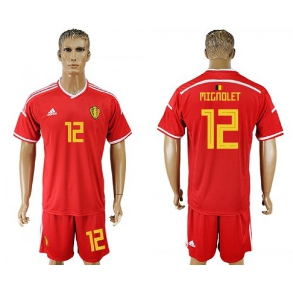 Belgium #12 Mignolet Red Home Soccer Club Jersey