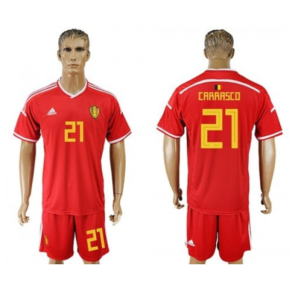 Belgium #21 Carrasco Red Home Soccer Country Jersey