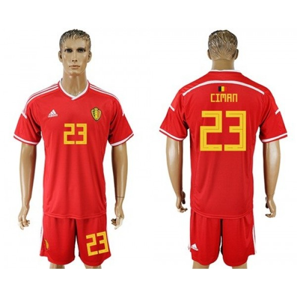 Belgium #23 Ciman Red Home Soccer Country Jersey