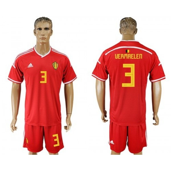 Belgium #3 Vermaelen Red Home Soccer Country Jersey