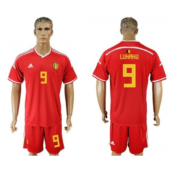 Belgium #9 Lukaku Red Home Soccer Country Jersey