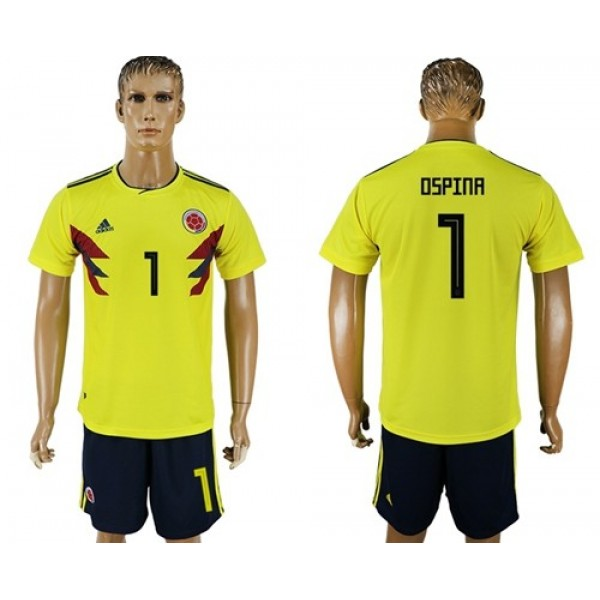Colombia #1 Ospina Home Soccer Country Jersey
