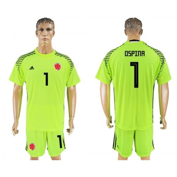 Colombia #1 Ospina Shiny Green Goalkeeper Soccer Country Jersey