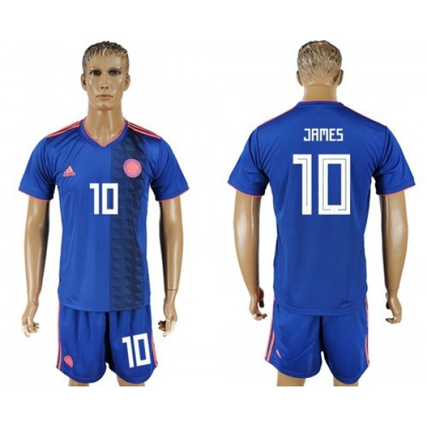 Colombia #10 James Away Soccer Country Jersey