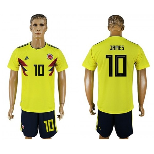 Colombia #10 James Home Soccer Country Jersey