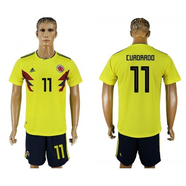 Colombia #11 Cuadrado Home Soccer Country Jersey