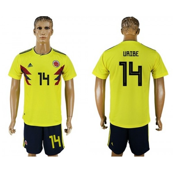 Colombia #14 Uribe Home Soccer Country Jersey