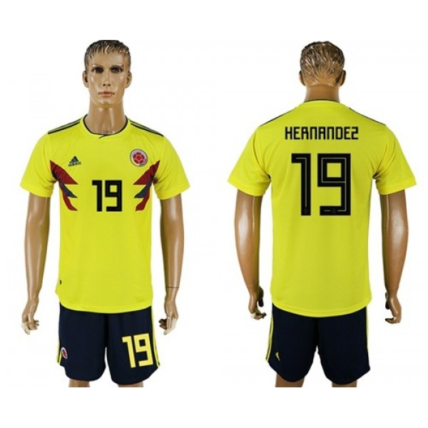 Colombia #19 Hernandez Home Soccer Country Jersey