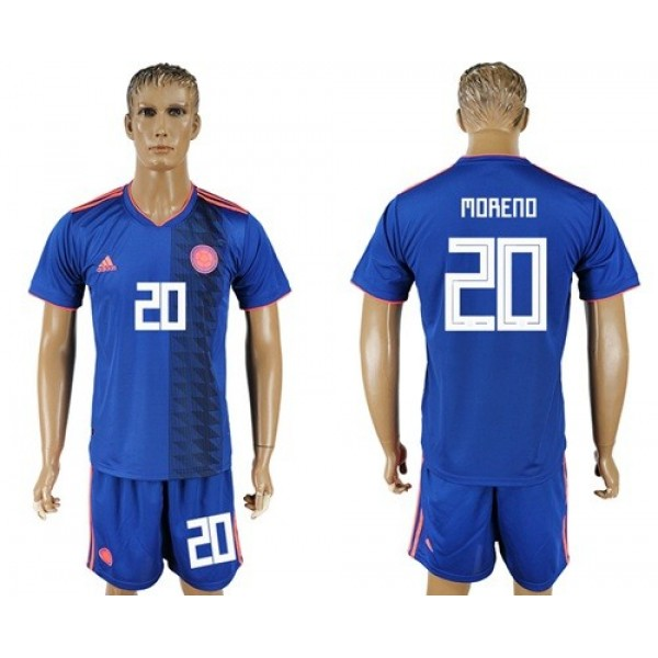 Colombia #20 Moreno Away Soccer Country Jersey