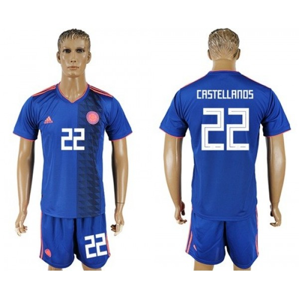 Colombia #22 Castellanos Away Soccer Country Jersey