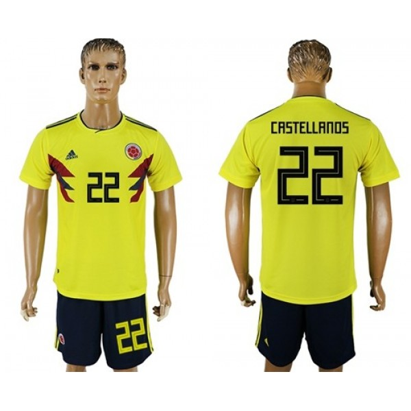Colombia #22 Castellanos Home Soccer Country Jersey