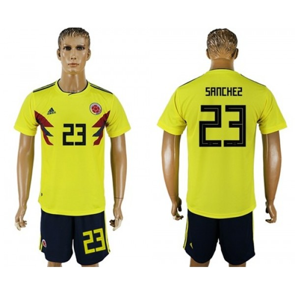 Colombia #23 Sanchez Home Soccer Country Jersey