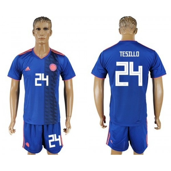 Colombia #24 Tesillo Away Soccer Country Jersey