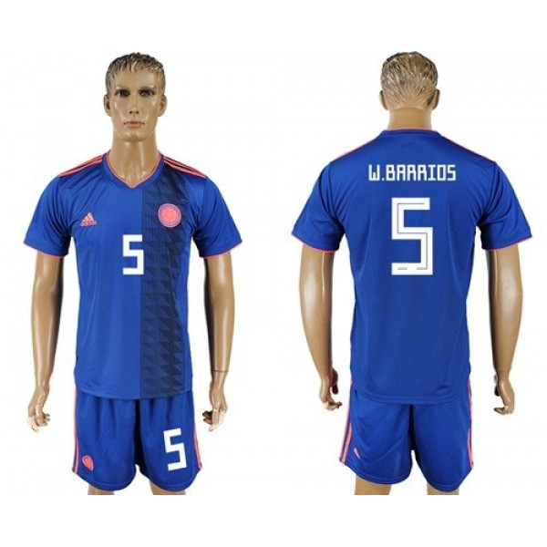 Colombia #5 W.Barrios Away Soccer Country Jersey